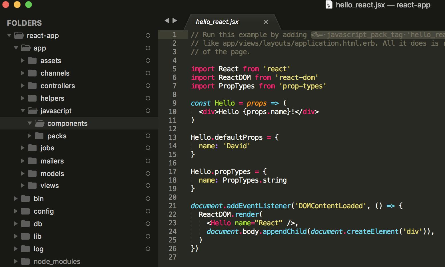 React Javascript Components Folder