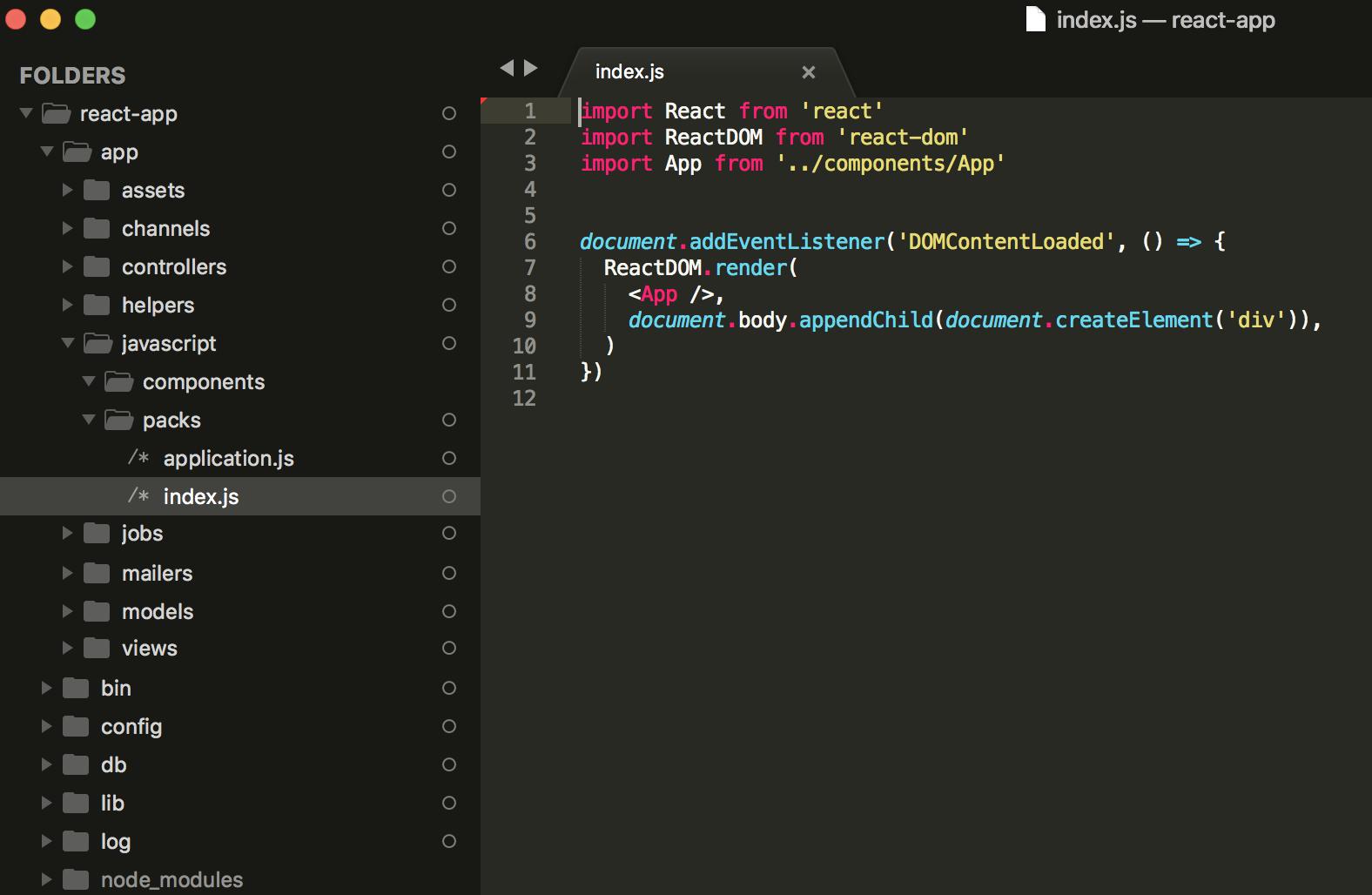 React Javascript App Component